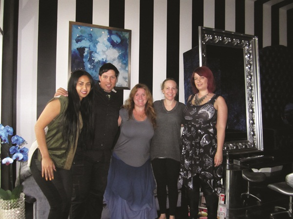 That's Wet Canvas owner Diana Sek, nail artist and Artistic Nail Design educator Ruben Eduard, me, my sister-in-law Alison, and nail artist Karissa Burns.