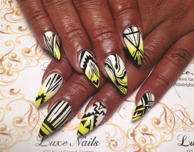 The salon is best known for its trendy nail art, and the staff gets many requests for intricate designs or detailed drawings.