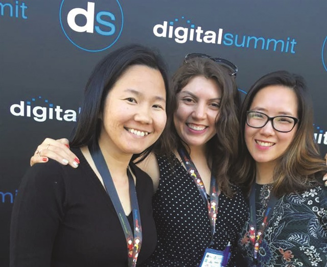 Me (center) with VietSALON managing editor Anh Tran (left) and associate art director Yuiko Sugino (right) at the Los Angeles Digital Summit.