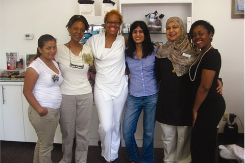<p>The staff who was working at the salon on Thursday morning were happy to take a photo with me (third from right). From left to right: Nancy Diaz, Iris Baker, Maisie Dunbar, Humaira Khan, and Jasmine Young.</p>