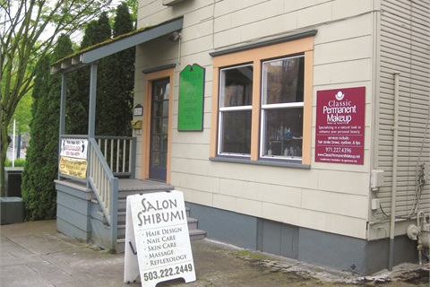 <p>Located in the Goose Hollow neighborhood in a former residential house, Salon Shibumi's hairstylists share the living and dining rooms, while the booth renters each get an upstairs (former bedroom) space.</p>