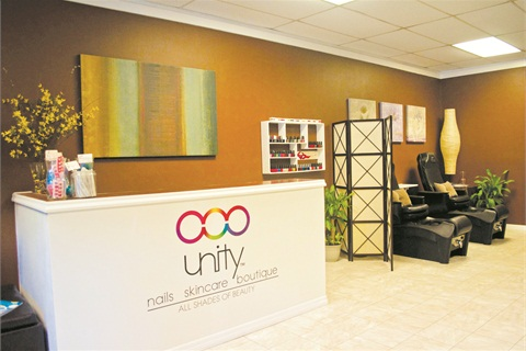 """<p class=""""NoParagraphStyle"""">To the right of the front desk are the luxury pedicure chairs, separated from the rest of the salon with elegant dividers to give customers more privacy.</p>"""