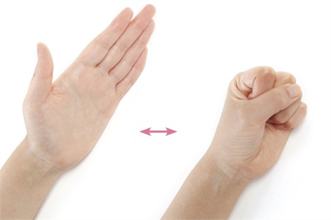 <p>Rest your arm with the side of your hand, wrist and arm lying on a desk or table. Gently bring your fingers and thumb into the palm, rolling them into a gentle fist. Unroll and roll several times and then repeat with alternating hand.</p>