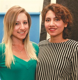 Artistic Fariha Ali (right) of The House of Polish and Enamel Diction in Los Angeles and her model Ciara Pisa.