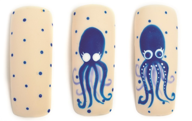 Nail art studio friendly octopus style nails magazine prep nail for gel polish application add base coat and cure paint nail with two coats of an ivory gel polish curing after each coat prinsesfo Image collections