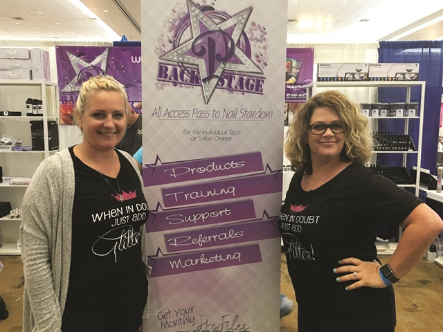 <p>Traci Dungan (left) and Ami McClure promoted their new ProFiles Backstage services at the Best Li'l Nail Show Texas.</p>