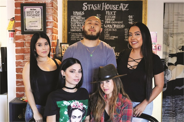 <p>Clockwise from top left are nail techs Senthia Rodriguez, Jimmy Nguyen, Alejandra Ortiz, Summer Olsen, and Adreanna Corrales.</p>