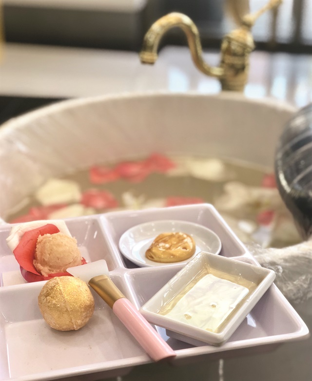 Nguyen believes in the small details, like rose petals in the pedicure bowls.