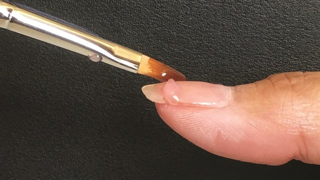 Applying gel requires a push, float, and pull technique, says Classy Claws' Sara Steinbrink.