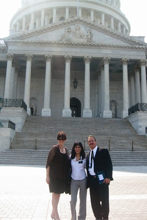 <p>Harlan Kirschner (right) of distributor The Kirschner Group Inc. was in a PBA board meeting for much of the day, but he joined Team CA-NV for the last few meetings. Also on Team CA-NV were Melanie Kopeikin (left) of distributor People in Beauty, and myself.</p>