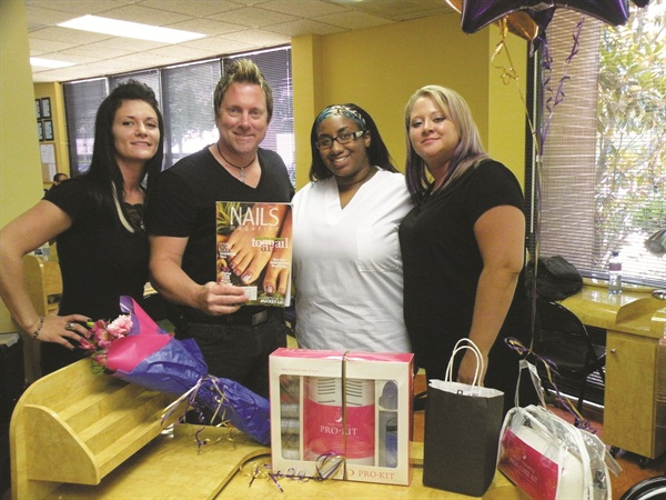 <p>The Royalty Beauty team of Candy Legg, John Hauk, and Nicole Brown flank Starr Rooks (second from right) during their surprise visit.</p>