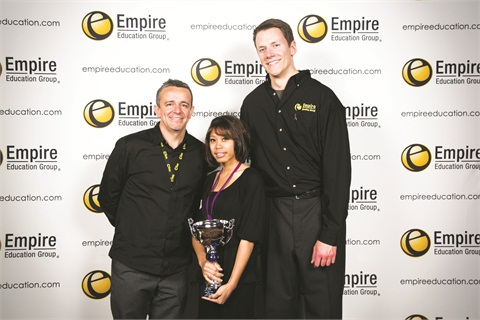 "<p class=""NoParagraphStyle"">The winner in the nail artistry category, Teanna Licorish, poses with Nick Arrojo (left) and Kyle Schoeneman (right).</p>"