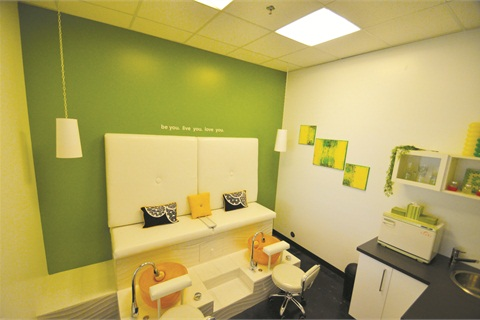 The Colour Cove room can be rented out by the hour and is a two-person private pedicure room with a television and specialty food and drinks.