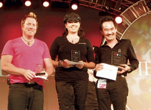 <p>Allison winning 2nd place at the US Invitational at IBS Las Vegas in the Perfect Match category, with first place winner Trang Nguyen (right), and third place John Hauk (left).</p>