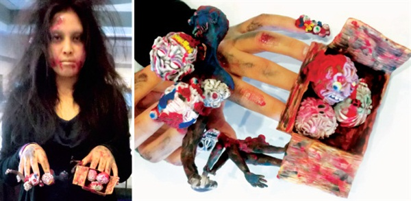 <p>Erina Ogawa's Zombie and Brains fantasy nail art piece with the fully costumed model at IBS Las Vegas.</p>