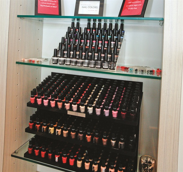 <p>Guests enjoy an impressive retail area, and each client goes home with her own free bottle of polish.</p>