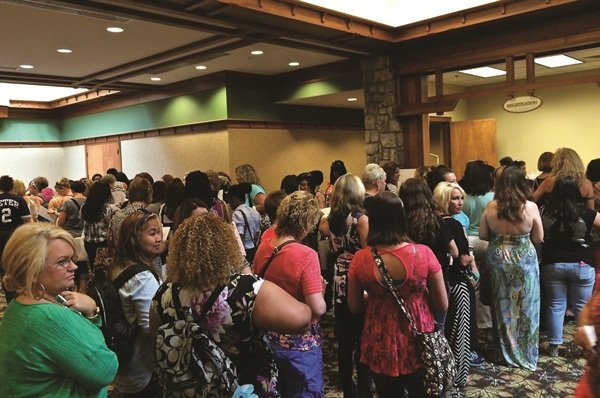 <p>This long line explains why you need reliable help checking in attending nail techs.</p>