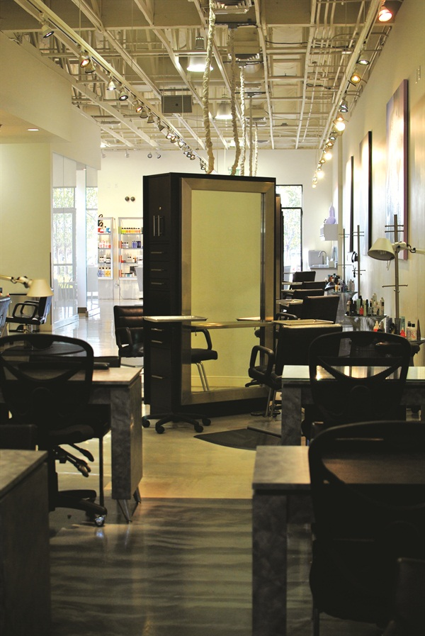 There's no separation between nail and hair stations so clients can move freely from one service to the next.