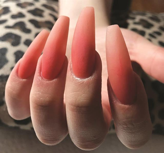 Create An Ombre Using Acrylic Powders Mia Secret Papaya Night Glow In The Dark Nail Art Powder Is Pictured Here File Buff And Cleanse Nails For Stone