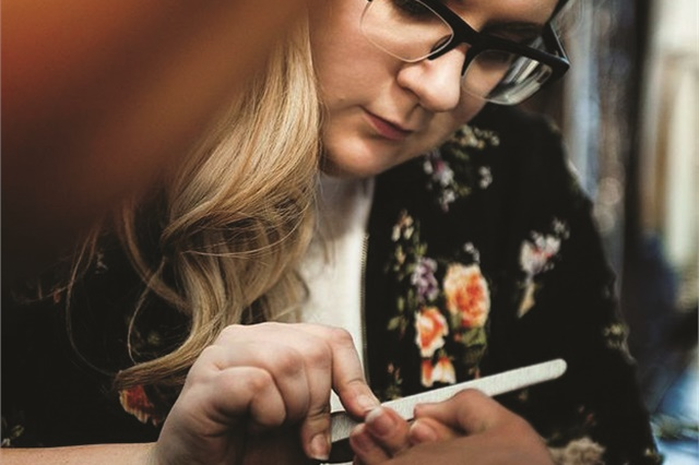 <p>Working on set has grown my nail skills while allowing me to be a creative ambassador for the nail industry to the rest of the beauty industry, demonstrating that nail artists are serious professionals. (Photo by Sage Etters)</p>