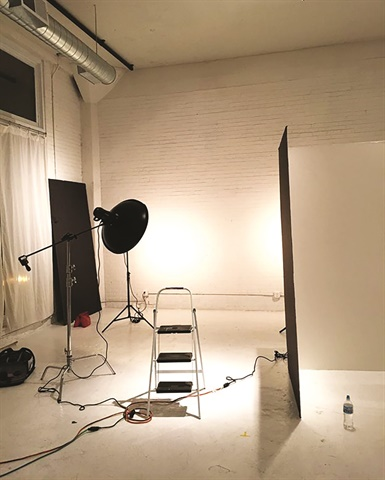 A basic studio set-up will look like a variation of this. Lights and cords and more cords.