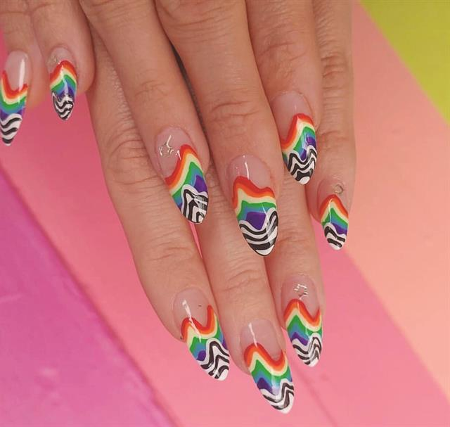<p>The menu offers elaborate nail art, like this design inspired by artist Jen Stark.</p>