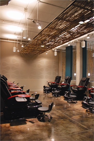 """<p><span style=""""line-height: 120%; font-family: 'Arial','sans-serif'; letter-spacing: -0.25pt; color: windowtext; font-size: 10pt;"""">Bamboo is the theme throughout the nail spa, highlighted by the marbled brown flooring and teal walls. The pedicure area is tucked in the back, where the No-Chip Pedicure costs $60 and the Classic Pedicure is $30.</span></p>"""
