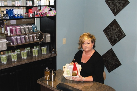 Nail techs at Salon Art-Tiff place retail product in small baskets and bring them to the front desk, offering personalized recommendations for each client.