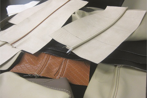 <p>atalie Zolotnik of Belava saved several of her upholstery projects from class, where she learned how to stitch corners, how to work with different materials, and the most efficient way to lay out vinyl.</p>
