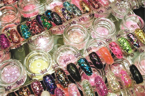 """<p class=""""NoParagraphStyle"""">Look at all the fantastic colors at the Sparkles booth.</p>"""