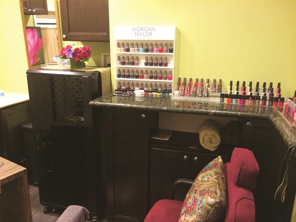 <p>Williams' workspace in Anastasia Beverly Hills boasts professional-only lines such as Morgan Taylor, CND, and Jessica.</p>