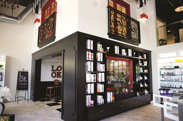 The LOOK Café is on the bottom floor below the meeting room and serves clients and their guests in any part of the salon.
