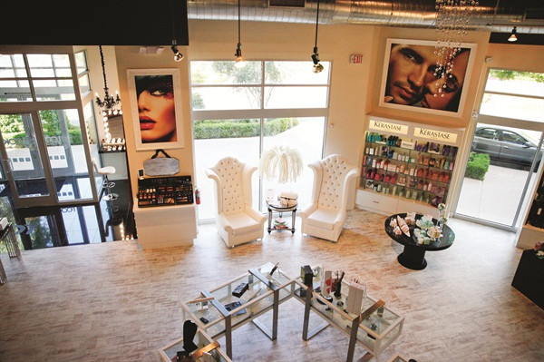 While waiting, clients can shop for any beauty or accessory needs or try on makeup.