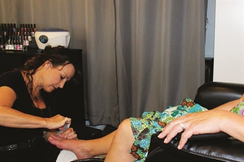 <p>Owner Susan Bentley rode the ferry over to personally provide me with a luxurious spa pedicure.</p>