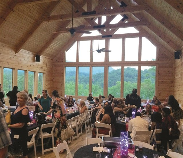 The gala venue looked out on Great Smoky Mountain National Park.