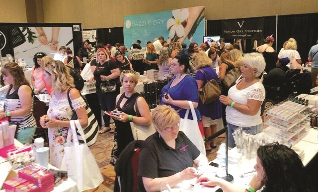 <p>The show floor was bustling.</p>