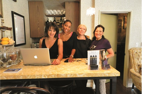 <p><span>[left to right] Receptionist Yuliya Tsvihun </span><span>with nail techs Naima Malone, Olga </span><span>Kovner, and Mila Sandul. All nail techs have </span><span>between 10 and 15 years of experience.</span></p>