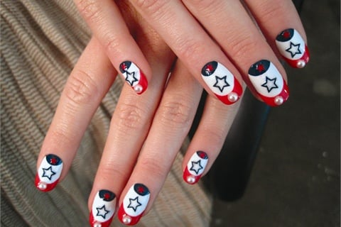 <p>These patriotic nails by Kandalec were featured in a spread in the August 2011 issue of Shape.</p>