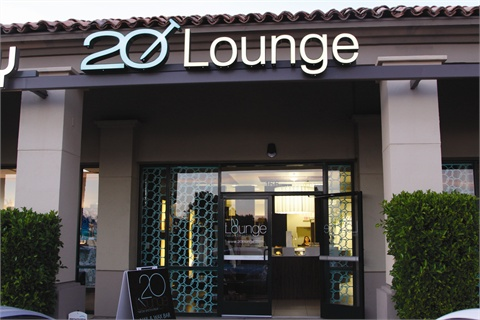 All three 20 Lounge locations so far are in shopping areas or plazas that get a lot of local exposure and daily foot traffic. Pictured is one of the Scottsdale, Ariz., locations.