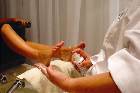 plastic wrap on feet