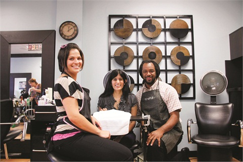 <p>True Envy's Angeles Arpizaga, Ramar Russell, and NAILS' Sree Roy enjoy the boisterous atmosphere inside the salon.</p>