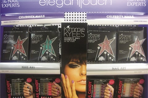 <p>This Ulta store display for Kimmie Kyees by Elegant Touch press-on nails focuses on the nail tech-designer herself, ­differentiating the brand from other products in the category.</p>