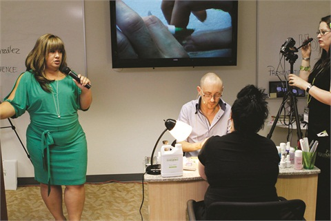 <p>U.S. dean of education MaeLing Parish instructed the trainees while European director of education Anthony Buckley demonstrated simultaneously on the big screens strategically placed around the classroom. West Coast regional education manager Sandy Combs manned the camera.</p>