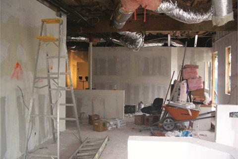 The interior of the salon is being completely gutted and reconfigured.