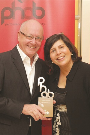 <p>CEO and founder of PHAB Standard Nergish Wadia-Austin (right) poses with hairstylist Trevor Sorbie.</p>