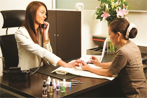 "<p><span>All over the globe, creative salon owners are finding ways to </span><span>reach clients who have the disposable income for salon services </span><span>but might not have the time. The Nail Spa in the United Arab </span><span>Emirates launched ""Deskside Revival Services"" in September.</span></p>"