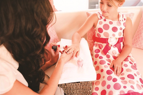 Birthday girls can book the mobile salon for three hours with three nail techs.