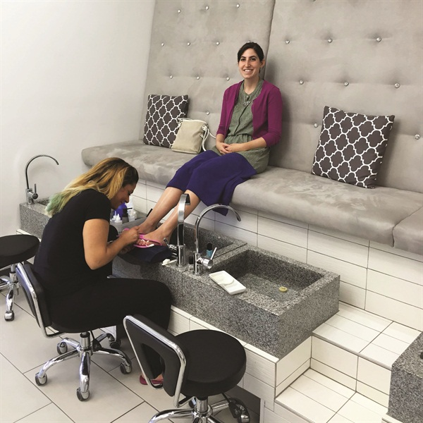 <p>I took nail tech Krystal's recommendation to go for a pedicure using June Jacobs spa products and vegan polish.</p>