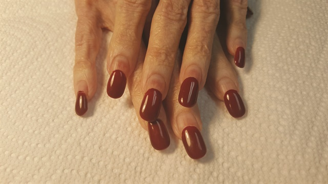 <p>Gayla Snell's client, Kaye Davis, returned to the salon with these nails after a five-month absence.</p>