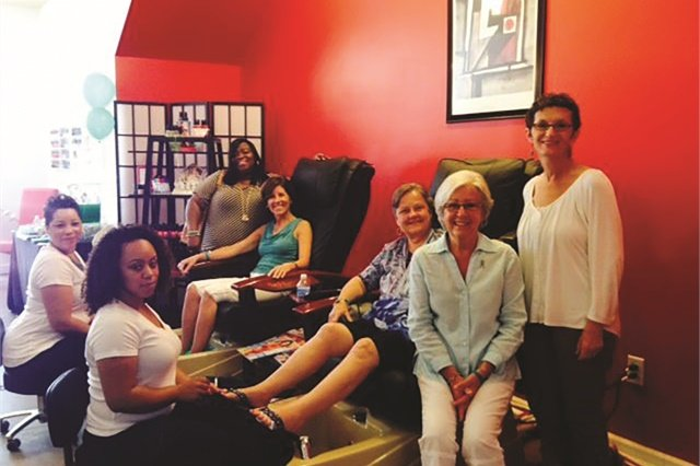 Wanda Belk, the owner of Zoe Nails at Ayrsley in Charlotte, N.C., hosted a Teal Toes and Teal Nails charity event to raise funds to fight ovarian cancer.